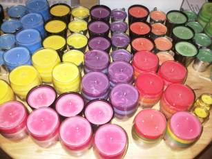 The latest batch of soy wax candles. The workshop smells wonderful!