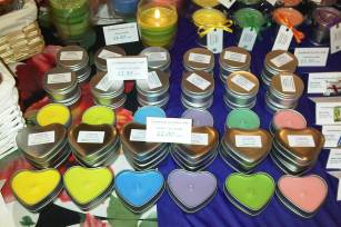 NEW Heart shaped Rapeseed wax candles, available in a raninbow of colours