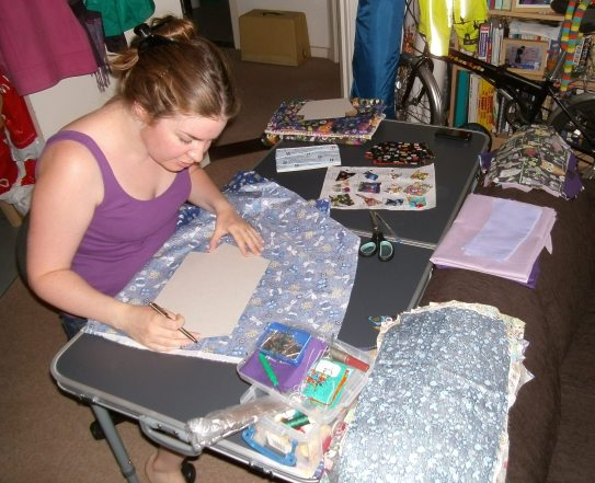 12.08.13 Hannah working away in the studio making the latest range of bags